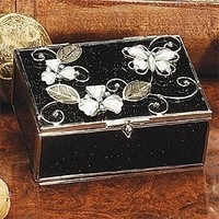StealStreet SS-A-38103 Butterfly Decoration Jewelry Box, White