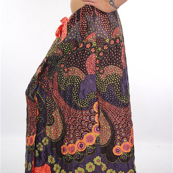 Boho Hippie abstract paisley quilted wrap maxi skirt