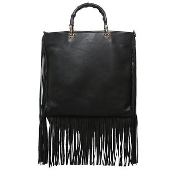 Gucci Bamboo Shopper 2-Way Black Leather Fringe Hobo Bag 349195 A7M0V 1000