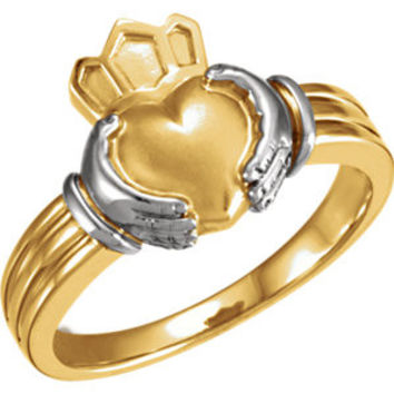 14K White Gent's Claddagh Ring