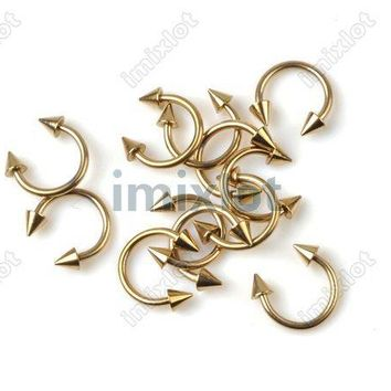 50pcs Lots U Shape Labret Lip Tongue Rings Piercing Gold Tone Titanium Pierce Unisex Fashion Body Jewelry Free Ship