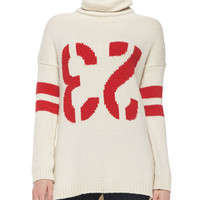 Women's 23 Intarsia Knit Turtleneck Sweater - Zadig & Voltaire - Neige/Rouge