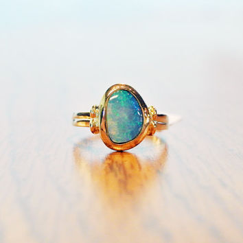 14k Black Opal Gemstone Ring // Vintage Bezel Set Blue Colored Boulder Opal in 14k Yellow Gold Ring, Simple Design, Minimalist Jewelry