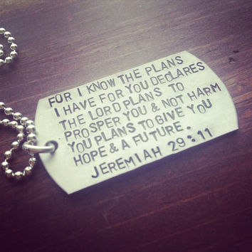 Hand Stamped Jeremiah 29:11 Necklace