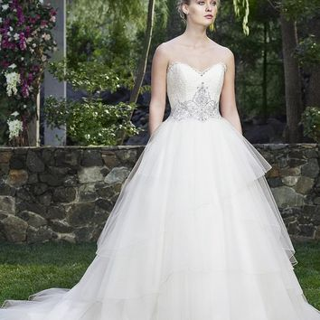 Casablanca Bridal Calla Lilly 2259 Strapless Layered Tulle Ball Gown Wedding Dress