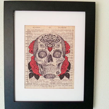 Sugar Skull Day of the Dead 11x14 Framed White Burlap Print