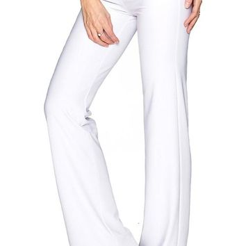 White Amelia Summer Stretch Pull-On Palazzo Pant -