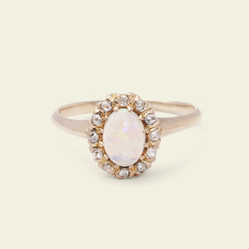 Victorian Opal and Rose Cut Diamond Cluster Ring