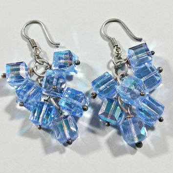 Vintage 925 Mexico Silver Earrings Beaded Periwinkle Blue Sparkling Glass Square Iridescent Beads Dangles 7 Beads Per Earrings Fun