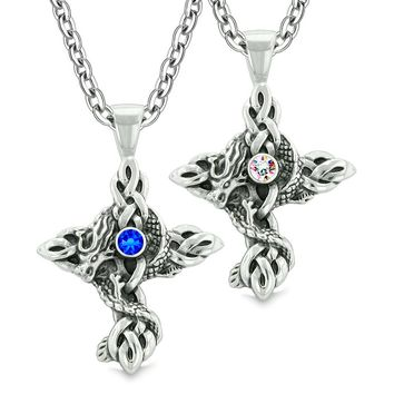 Fire Dragon Celtic Knots Protection Cross Amulets Love Couples Best Friends Blue Rainbow Necklaces