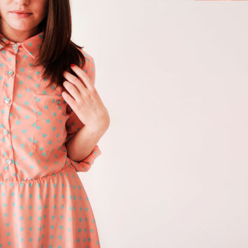 Lu pink dress in blue spots\midi summer dress\shirt dress\spring pink dress\blue polka dot dress\long sleeve dress\50's style