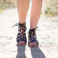 Archer Black Gladiator Sandals