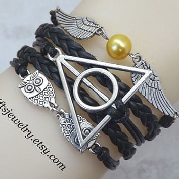 Harry Potter Deathly Hallows Bracelet harry potter jewelry Wings Bracelet Owls Bracelet Braided Leather Friendship gift Black charm