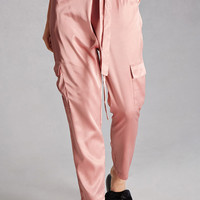 High-Waisted Satin Cargo Pants