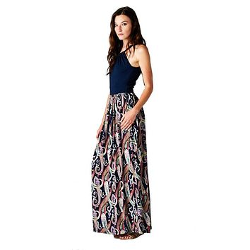 Multi Color Paisley Floral Sleeveless Halter Style Maxi Dress