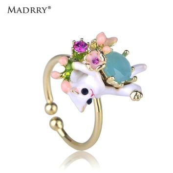 Madrry Fashion Jewelry Ring Enamel White Cat Flower Shape Ring Women Girls Daily Banquet Party Bijoux Hand Accessories Gifts