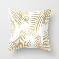 Gold palm leaves Throw Pillow by Marta Olga Klara