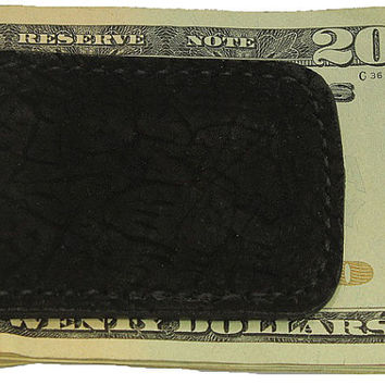 Black Genuine Hippo Leather Money Clip - Real Hippopotamus Hide - Free Shipping to USA