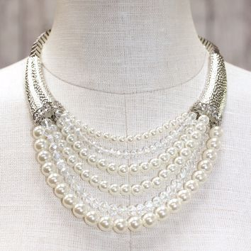 Multi Pearl & Crystal Necklace