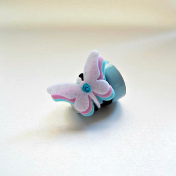 Butterfly Hair Bow/ Elastic Butterfly Headband/ Hair Piece