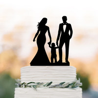 Funny Wedding Cake topper with boy, bride and groom wedding cake topper with child, funny wedding cake topper with kid, boy cake topper