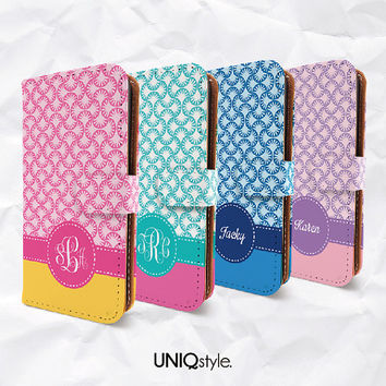 Personalized monogram name text PU leather case for iPhone 4/4s 5/5s 5c MotoX - colorful pattern wallet flip case w/ standing function - C02