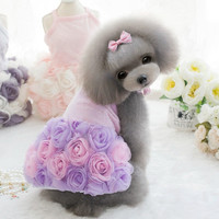 Evening Dresses 3 Styles Adorable High-End Luxury 3D Rose Pet Dog Wedding Gown Beautiful!