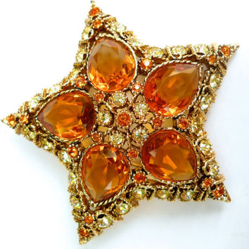Kenneth Lane KJL Star Brooch, Topaz Rhinestones, Signed Vintage