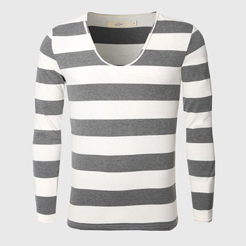 Men Navy Thick Stripe T Shirt Slim Basic Tee Shirts Cotton Nautical Striped Tops Pattern Vintage Classic Unique Sailor Look