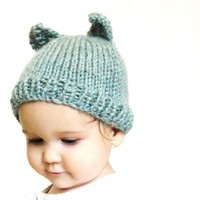 handknit baby hat and photo prop aqua blue by BaruchsLullaby