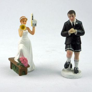 Football Bride Groom Cake Topper Couple Soccer Fans Wedding Party Figurine Horn = 1930279876
