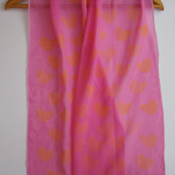 Hand Painted Scarf,Organic Cotton Scarf,Soft Thin Scarves,Accessory,Pink Scarf with Yellow Ducks