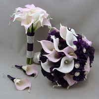 Purple Lavender Real Touch Calla Lily Wedding Flower Package Lavender White Calla Lilies Purple Hydrangea Rhinestone Pearl Accents
