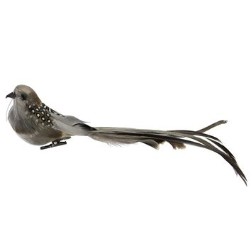 """9.5"""" Brown and Grey Clip-On Bird Feather Christmas Ornament Decoration"""