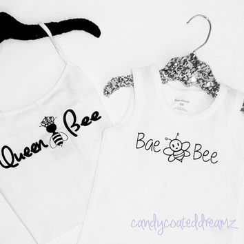 Queen Bee, Bae Bee Mommy & me matching set shirts Onesuit tank cute clothes tee t-shirts boutique girls mama twins hip trendy trendsetter