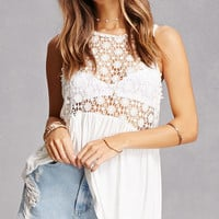 Crochet Lace-Up Tank Top