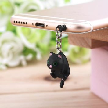 In Stock Newest Cute Cat Hanging 3.5mm Anti Dust Earphone Jack Plug Stopper Cap For Phone