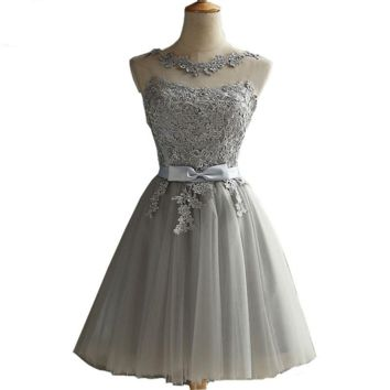 Gray Cocktail Dresses Party Dress Special Occasion Dresses Lace Applique Sheer Neck Short Formal Gowns