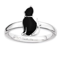 Sterling Silver Stackable Expressions Black Enameled Cat Ring