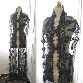 Extra long 3 yards black lace scarf scarves victorian, gothic lace wrap , lace shawl lace accessories lace scarf lace cape gypsy bohemian