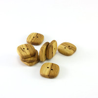 Square wooden buttons - Set of 8 rustic oak wood buttons - 0.8in (20mm) - Natural wood buttons - Handmade craft supplie (O8319)