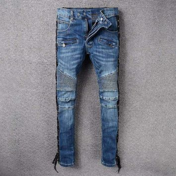 France Style #988# Mens Distressed Embellished Ribbed Stretch Moto Pants Biker Jeans Slim Trousers Size 28-42