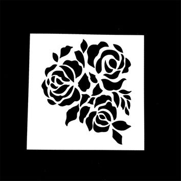 1PC 3 Rose Flower Shaped Reusable Stencil Airbrush Painting Art DIY Home Decor Scrap booking Album Crafts Gifts HOT