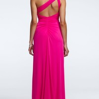 One Shoulder Long Chiffon Dress with Beaded Detail - David's Bridal