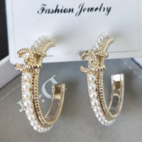 CHANEL New Fashion More Pearl Round Earrings Accessories Women Golden
