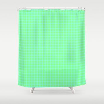 Blue On Green Plaid Shower Curtain by Moonshine Paradise