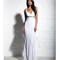 LM by Mignon AL3118 Sexy Low Back White Dress 2015 Prom Dresses