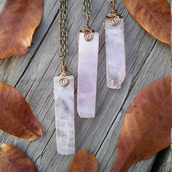Rose quartz bar necklace, pink crystal, rose quartz slice, rose quartz, crystal
