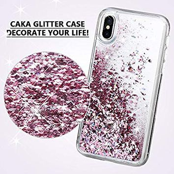 iPhone X Case, Caka iPhone X Glitter Case [Liquid Series] Girls Luxury Fashion Bling Flowing Liquid Floating Sparkle Glitter Cute Soft TPU Case for iPhone 10 - (Rose Gold)