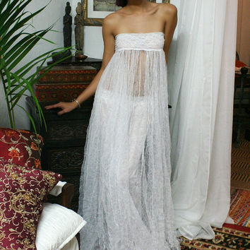 Crushed English Netting Strapless Bridal Nightgown Bohemian Lingerie Wedding Robe Gypsy Bridal Lingerie Wedding Sleepwear White Nightgown